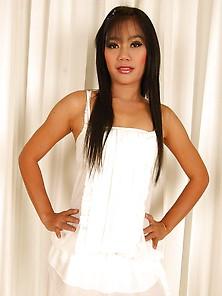Sexy Asian Sherri In White Lingerie