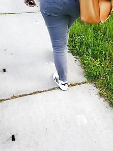 Nice Bbw Ass In Grey-Blue Jeans 2