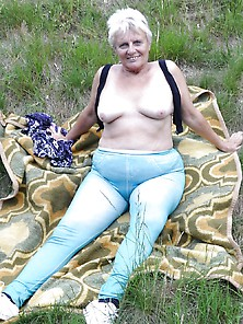 Old,  Fat Granny Outdoor