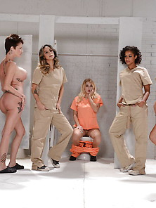 Jumpsuit-Wearing Lesbian Hotties Wind Up In Prison,  They Fuck Li