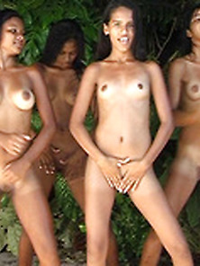 Four Naked Exotic Girls Dancing Very Hot Dance In The Jungle To