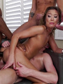 Cute Asian Milf In Screaming Orgy With Double Fuck