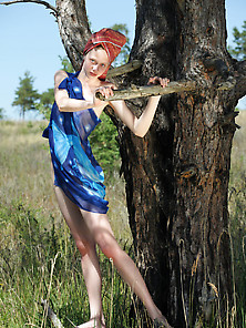 Slim And Pale Hottie Tries To Climb A Tree While Totally Naked V
