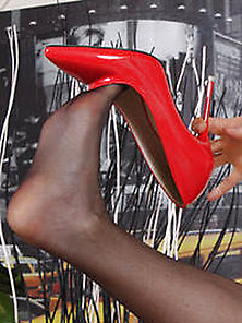 Dea Satin Hot Nylon Foot With Red High Heels