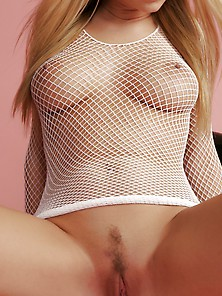Alison Angel - Smoking Hot Busty Blonde In White Fishnet Lingeri