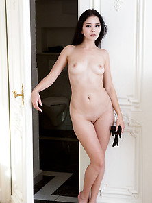 Naked Brunette Puts On Her Stylish Black Gloves And Poses Seduct