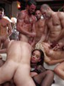 "Hot Orgy 3 Beauties And 20 ""stallions"""